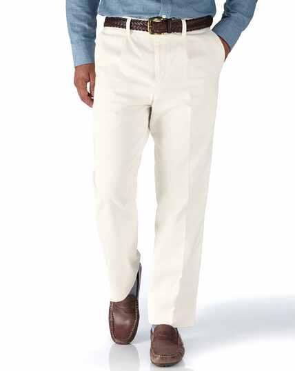 Pantalon chino week-end blanc coupe droite à pinces simples