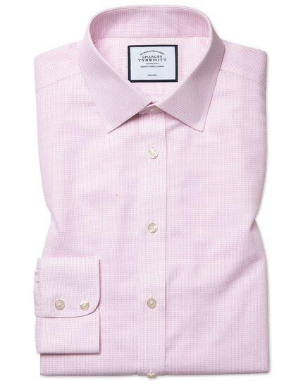 Slim fit non-iron dash weave pink shirt