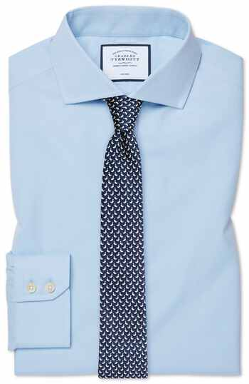 Extra slim fit sky blue non-iron poplin cutaway collar shirt