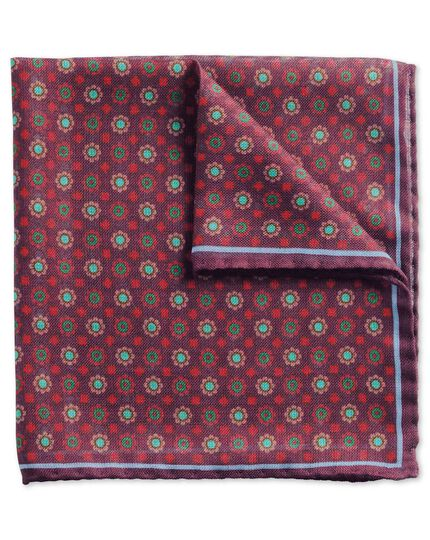 Burgundy and green luxury Italian wool silk pocket square