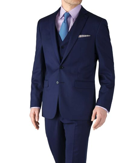 Royal blue slim fit twill business suit jacket