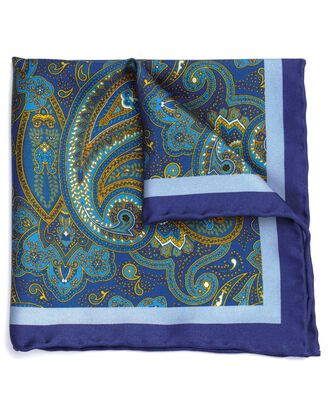 Navy and gold silk paisley printed pocket square