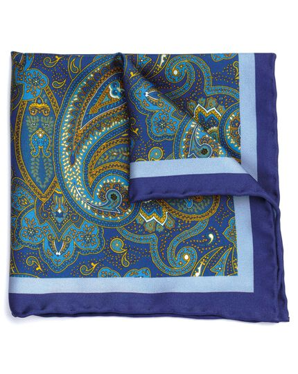 Pochette de costume bleu marine et or en soie à imprimé cachemire