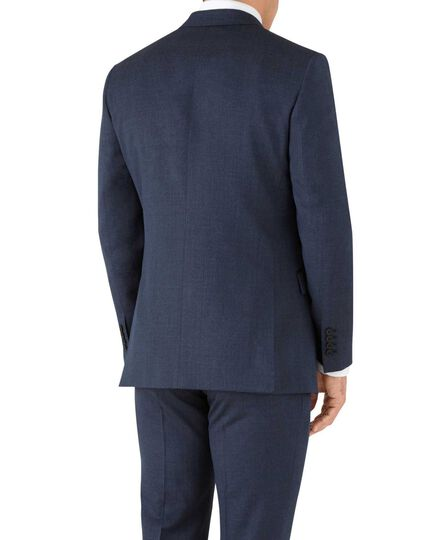 Airforce blue slim fit hairline business suit jacket