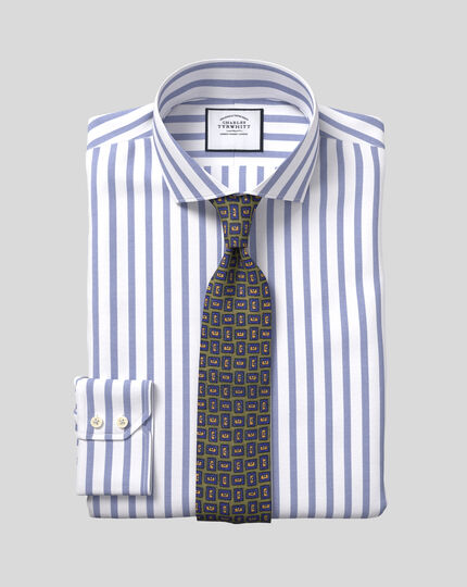 Cutaway Collar Cotton Stretch with TENCEL™ Stripe Shirt - Royal Blue