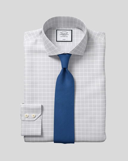 Cutaway Collar Non-Iron Check Shirt - Silver