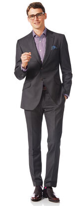 Costume gris en tissu italien slim fit à rayures