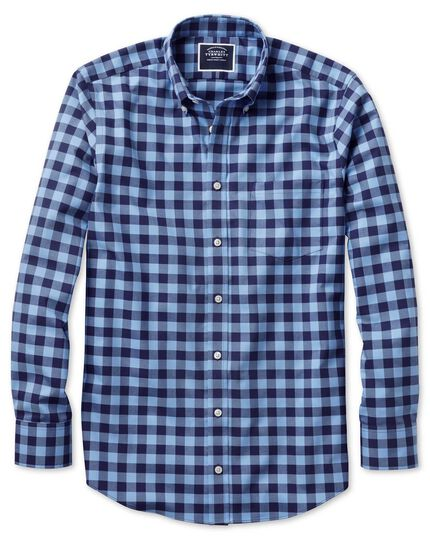 Classic fit button-down non-iron twill blue and navy gingham shirt