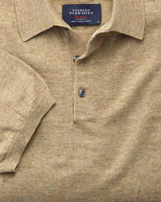 Fawn heather short sleeve polo collar jumper