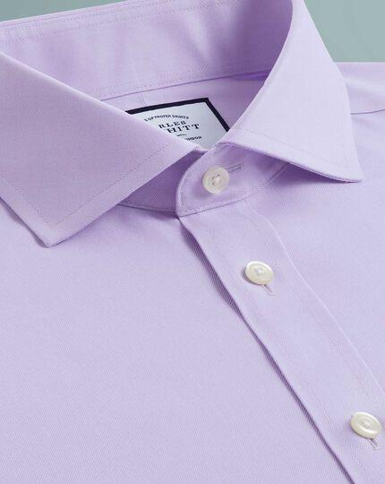 Slim fit non-iron twill lilac cutaway collar shirt
