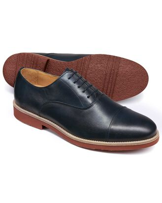 Navy Oxford toe cap shoe