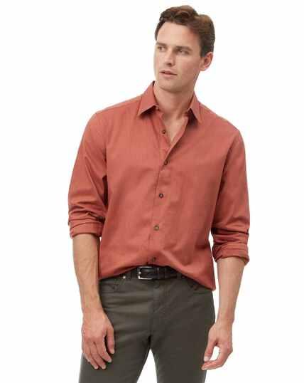 Classic fit orange seasonless textured shirt