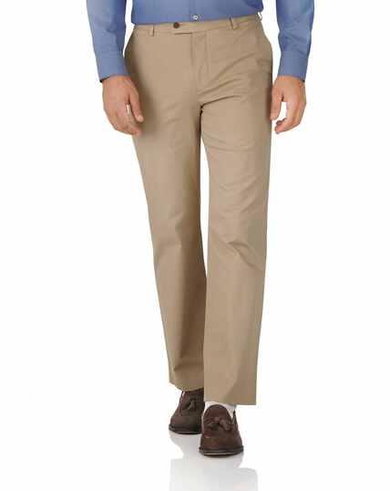 Pantalon chino brun clair coupe droite en tissu stretch