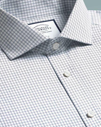 Slim fit non-iron 4-way stretch navy check shirt