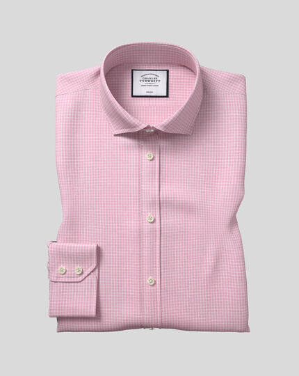 Spread Collar Non-Iron Cotton Stretch Check Shirt - Pink