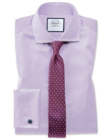 Burgundy and white silk slim printed spot classic tie