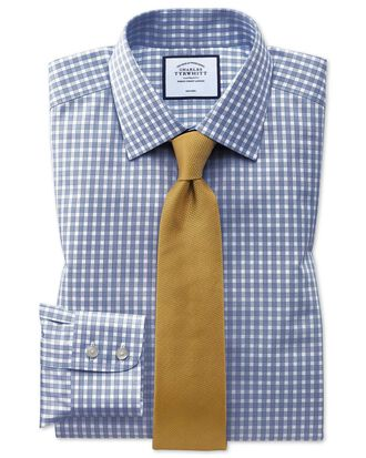 Classic fit non-iron twill gingham blue shirt