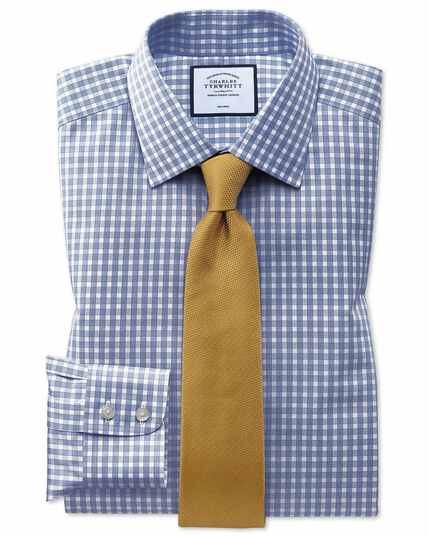 Classic fit non-iron twill blue gingham shirt