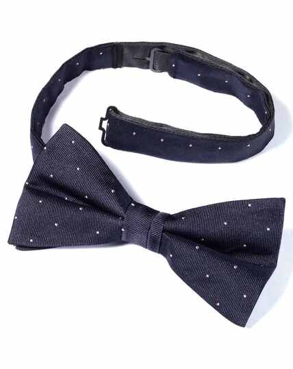 Navy and pink spot ready-tied bow tie