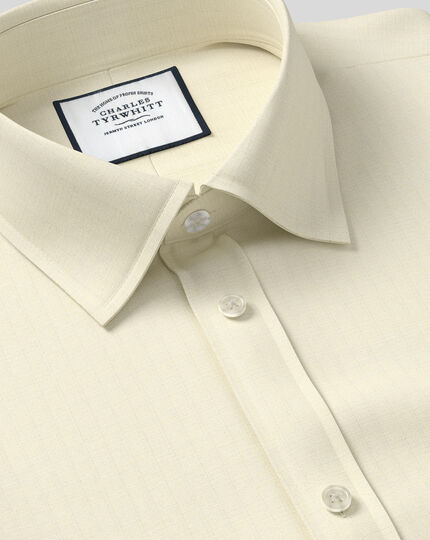 Classic Collar Egyptian Cotton Herringbone Shirt - Yellow