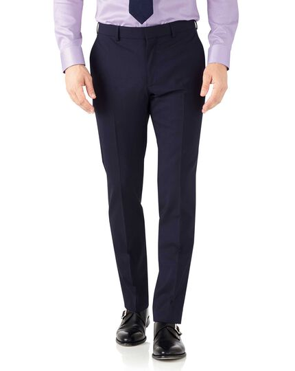 Navy slim fit performance suit trousers