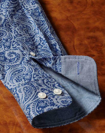 Classic fit non-iron chambray royal blue paisley print shirt