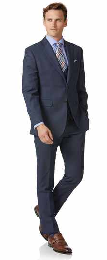 Costume Travel bleu acier œil-de-perdrix slim fit