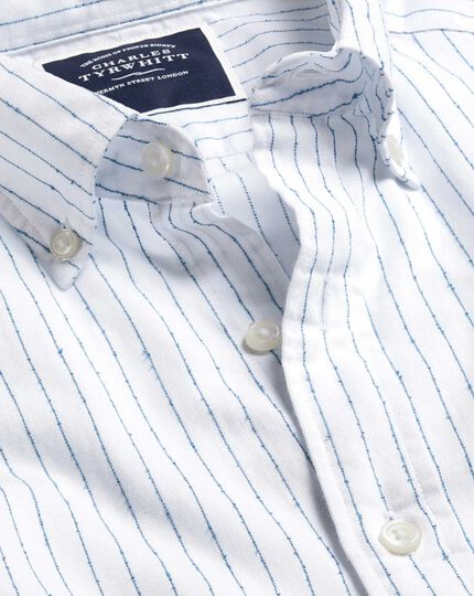 Button-Down Collar Fine Stripe Bouclé Shirt - White & Blue