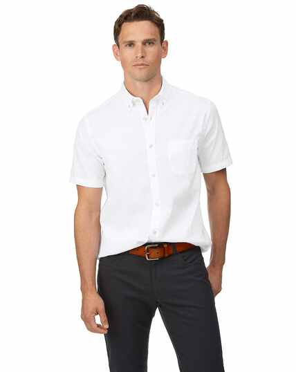 Classic fit white short sleeve button-down washed Oxford plain shirt