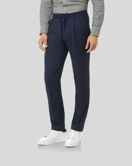 Textured Wool Blend Suit Drawstring Pants - Navy