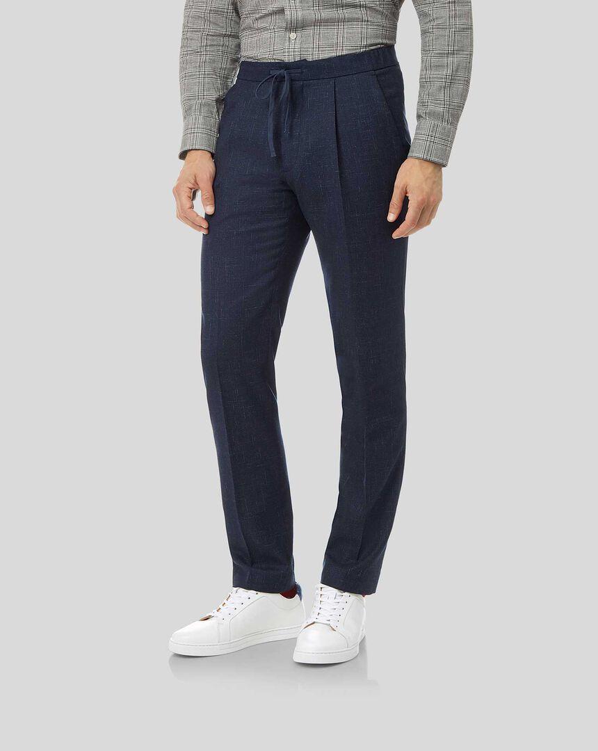 Textured Wool Blend Suit Drawstring Pants - Navy