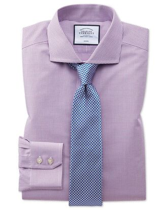 Slim fit spread collar non-iron natural cool pink check shirt
