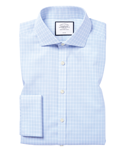 Cutaway Collar Non-Iron Poplin Check Shirt - Sky