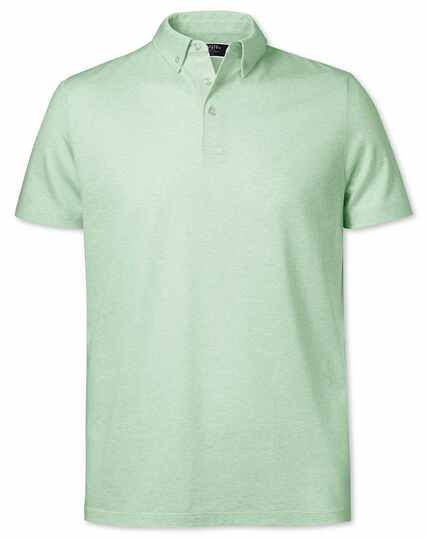 Light green cotton linen polo