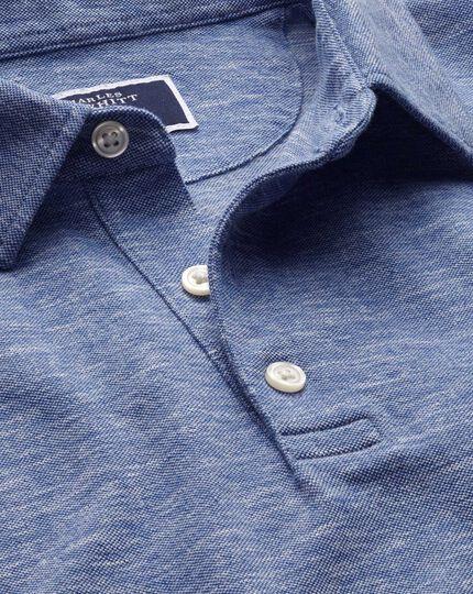 Navy cotton linen polo