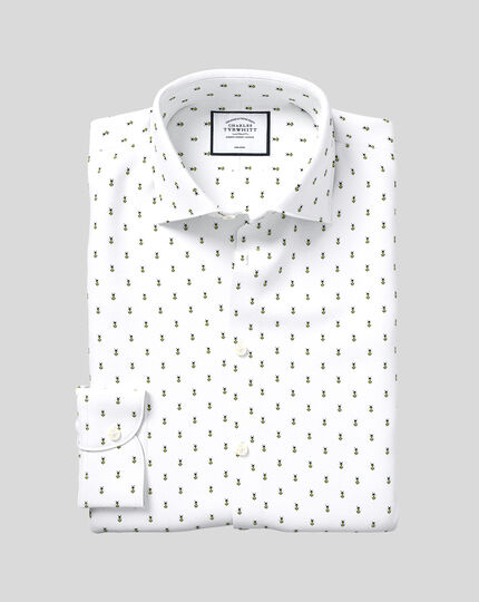 Business Casual Collar Non-Iron Bee Print Shirt - White