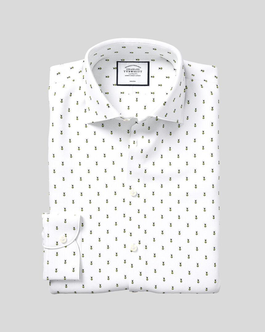 Business Casual Collar Non-Iron Bee Print Shirt - White