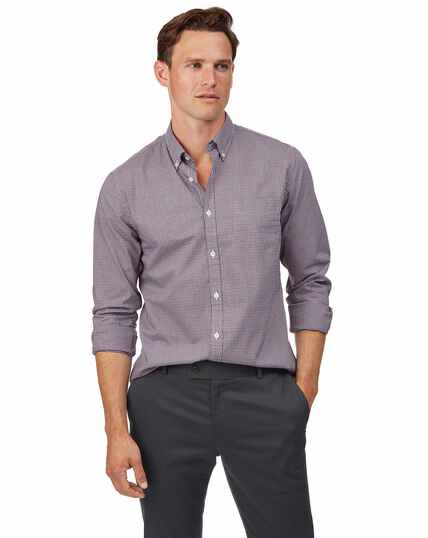 Extra slim fit red check soft washed non-iron stretch poplin shirt