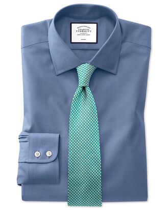 Slim fit non-iron pinpoint Oxford mid blue shirt