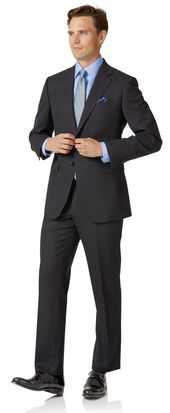 Charcoal classic fit birdseye travel suit