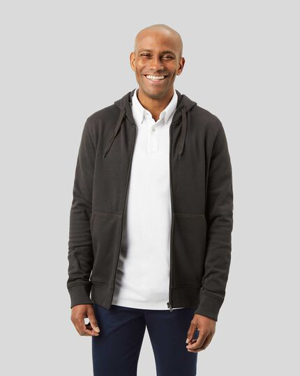 Jersey Zip Through Hoodie - Charcoal