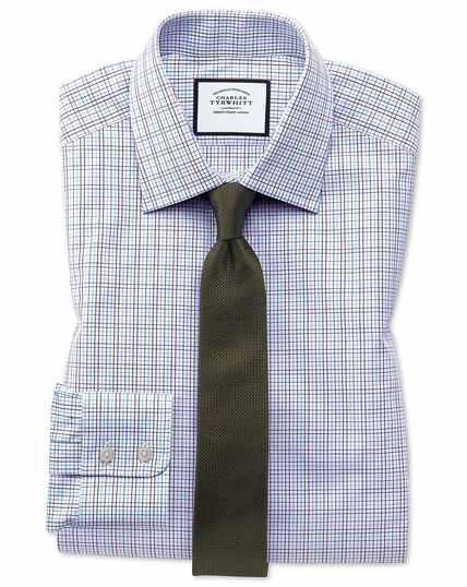 Extra Slim Fit Hemd aus ägyptischer Baumwolle mit buntem Karomuster in Violett