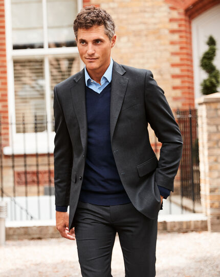 Birdseye Travel Suit Jacket - Charcoal