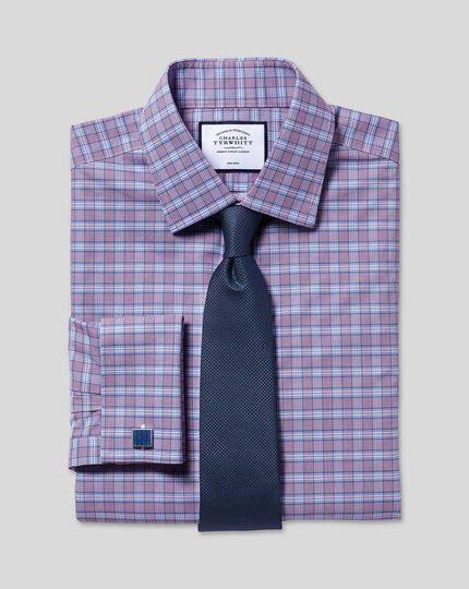 Non-Iron Prince of Wales Check Shirt - Purple & Blue