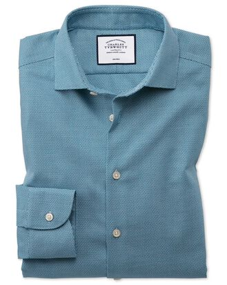 Slim fit business casual non-iron wave modern texture teal shirt