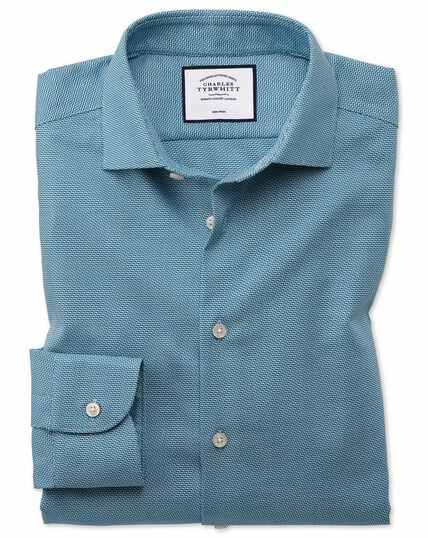 Bügelfreies Slim Fit Business-Casual-Hemd mit moderner Struktur und Wellenmuster in Aquamarin