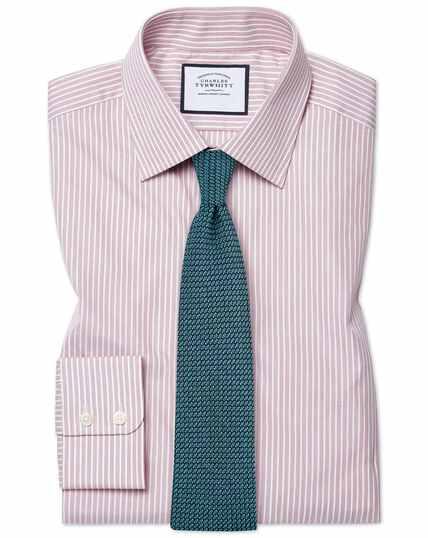 Fijngestreept roze popeline overhemd, slanke pasvorm