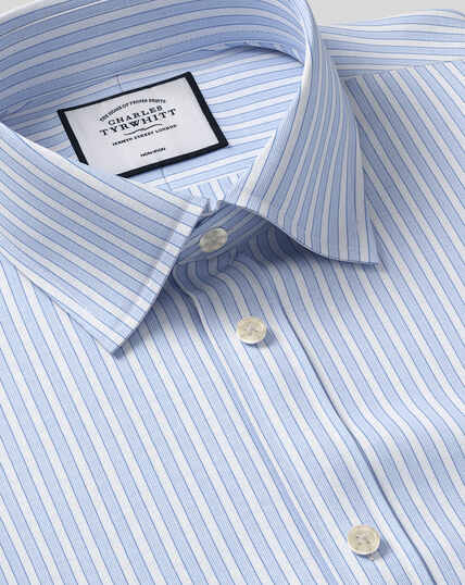 Classic Collar Non-Iron Poplin Stripe Shirt- Blue