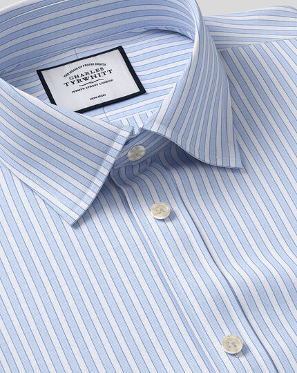 Classic Collar Non-Iron Poplin Stripe Shirt- Blue