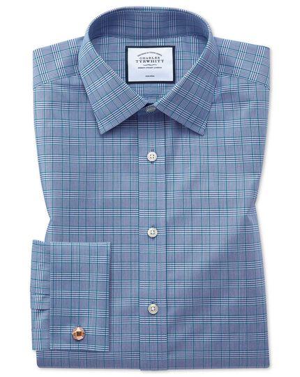Chemise bleue et verte à carreaux Prince de Galles coupe droite sans repassage